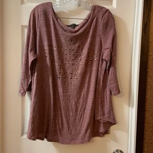 French Laundry Purple 3/4 Sleeve embellished Top